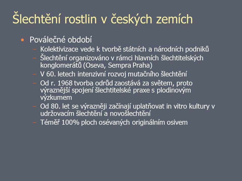 Šlechtění rostlin v českých zemích Období po roce 1989 –Od r.