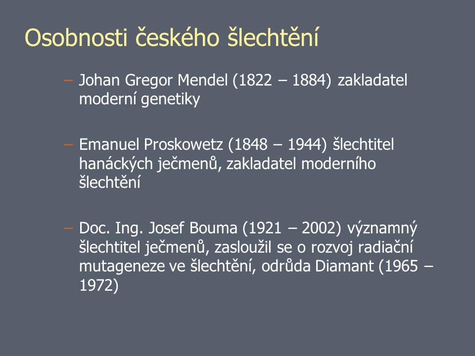 Osobnosti českého šlechtění –Johan Gregor Mendel (1822 – 1884) zakladatel moderní genetiky –Emanuel Proskowetz (1848 – 1944) šlechtitel hanáckých ječmenů, zakladatel moderního šlechtění –Doc.