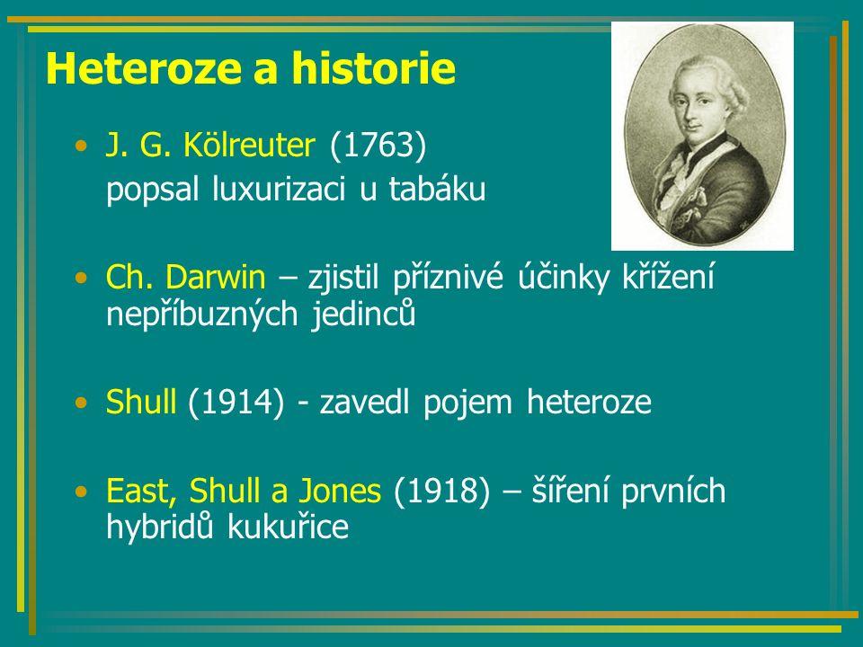 Heteroze a historie J. G. Kölreuter (1763) popsal luxurizaci u tabáku Ch. Darwin – zjistil příznivé účinky křížení nepříbuzných jedinců Shull (1914) -