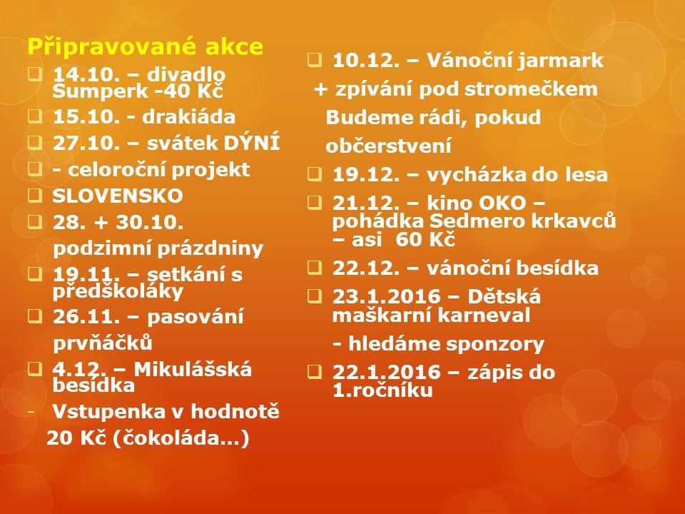 Připravované akce  14.10. – divadlo Šumperk -40 Kč  15.10.