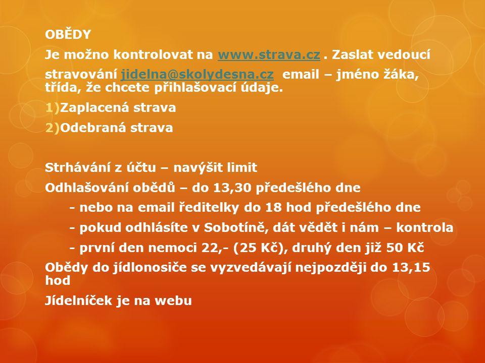 OBĚDY Je možno kontrolovat na www.strava.cz.