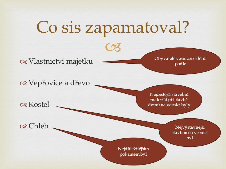   Vlastnictví majetku  Vepřovice a dřevo  Kostel  Chléb Co sis zapamatoval.