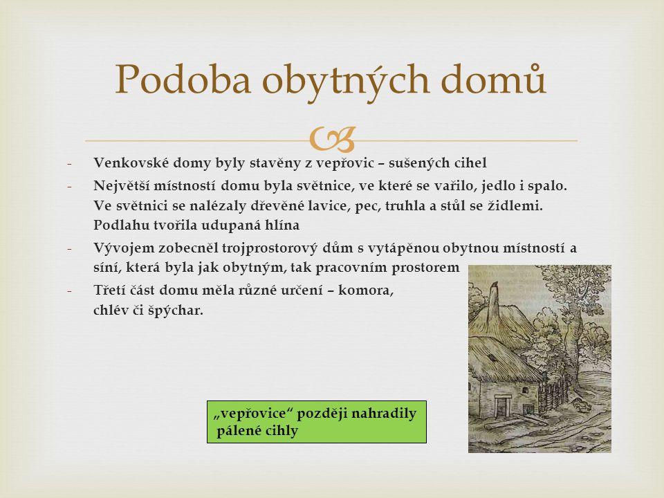  Podoba obytných domů - Venkovské domy byly stavěny z vepřovic – sušených cihel - Největší místností domu byla světnice, ve které se vařilo, jedlo i spalo.