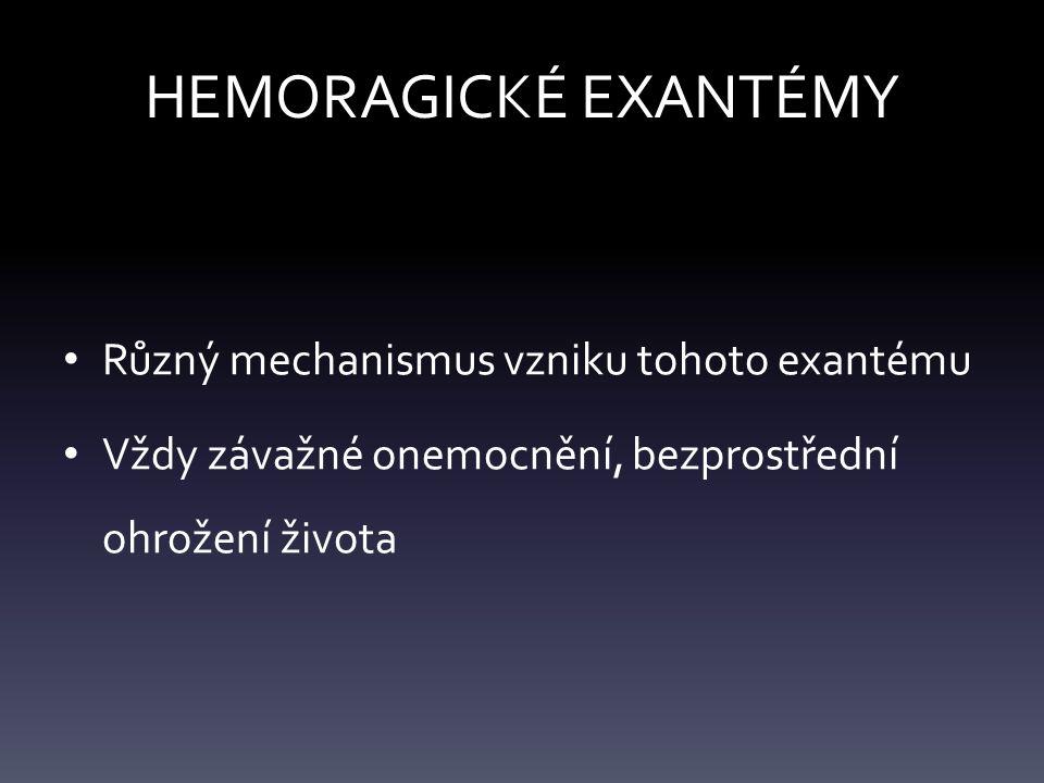 HEMORAGICKÉ EXANTÉMY Různý mechanismus vzniku tohoto exantému Vždy závažné onemocnění, bezprostřední ohrožení života