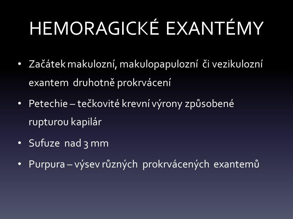 HEMORAGICKÉ EXANTÉMY Začátek makulozní, makulopapulozní či vezikulozní exantem druhotně prokrvácení Petechie – tečkovité krevní výrony způsobené rupturou kapilár Sufuze nad 3 mm Purpura – výsev různých prokrvácených exantemů