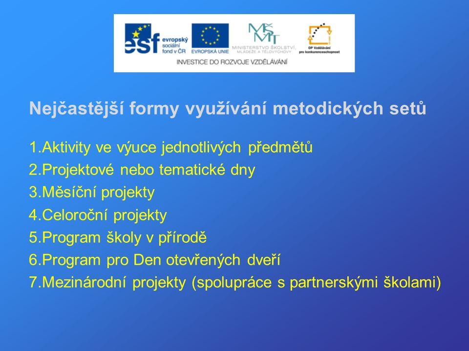 Nejčastější formy využívání metodických setů 1.Aktivity ve výuce jednotlivých předmětů 2.Projektové nebo tematické dny 3.Měsíční projekty 4.Celoroční projekty 5.Program školy v přírodě 6.Program pro Den otevřených dveří 7.Mezinárodní projekty (spolupráce s partnerskými školami)