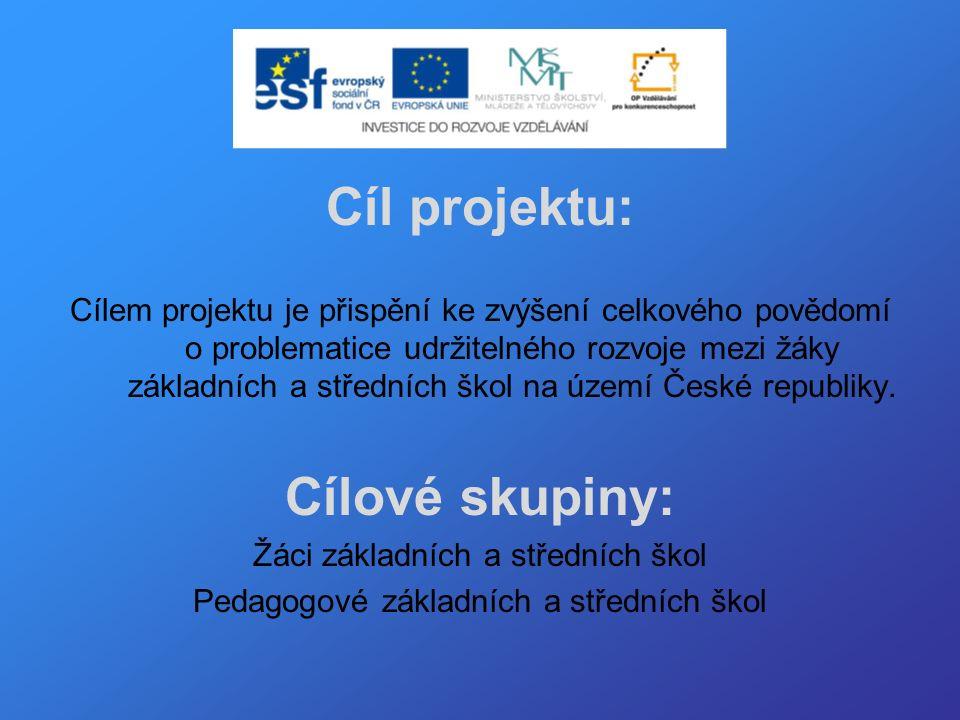 Cíl projektu: Cílem projektu je přispění ke zvýšení celkového povědomí o problematice udržitelného rozvoje mezi žáky základních a středních škol na území České republiky.