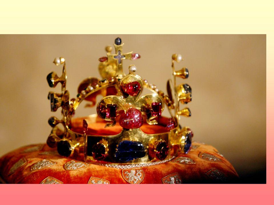 """Korunovace českým králem 1347 Nový korunovační řád a korunovační klenoty """"svatováclavská koruna"""" propůjčovaná panovníkovi při korunovaci (2,5 kg 21 ka"""