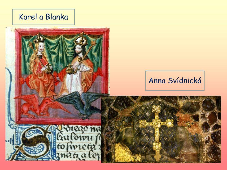 manželství 1. Blanka z Valois- stejného věku, 2 dcery 2. Anna Falcká- mladší o 13 let 3. Anna Svídnická- mladší o 23 let, císařovna, syn Václav 4. Eli