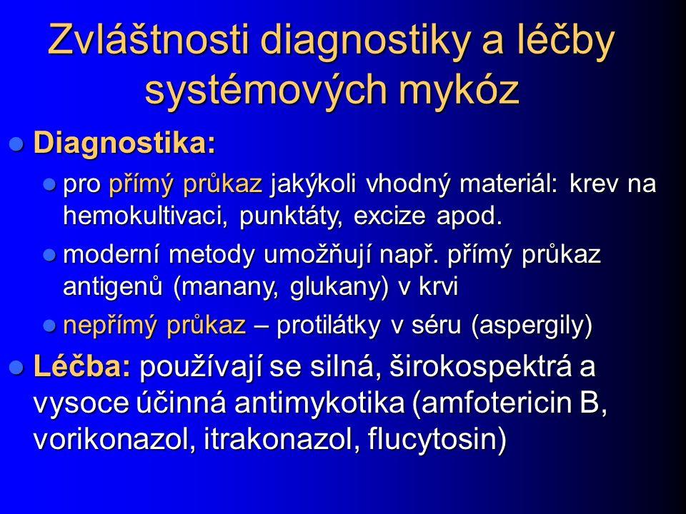 Systémové mykózy Zasahují více orgánů, často celé tělo Zasahují více orgánů, často celé tělo Jsou téměř vždy důsledkem nějakého základního onemocnění: