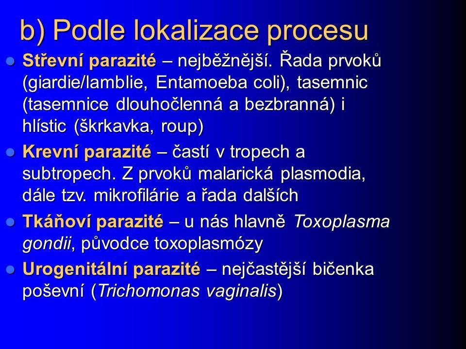 Rozdělení parazitů: a) systematické Endoparazité – parazitují uvnitř Endoparazité – parazitují uvnitř Prvoci (měňavky, bičíkovci…) Prvoci (měňavky, bičíkovci…) Motolice (Trematoda) Motolice (Trematoda) Tasemnice (Cestoda) Tasemnice (Cestoda) Hlístice (Nematoda) Hlístice (Nematoda) Ektoparazité – parazitují vně, zpravidla členovci (vši, štěnice apod.) Ektoparazité – parazitují vně, zpravidla členovci (vši, štěnice apod.)