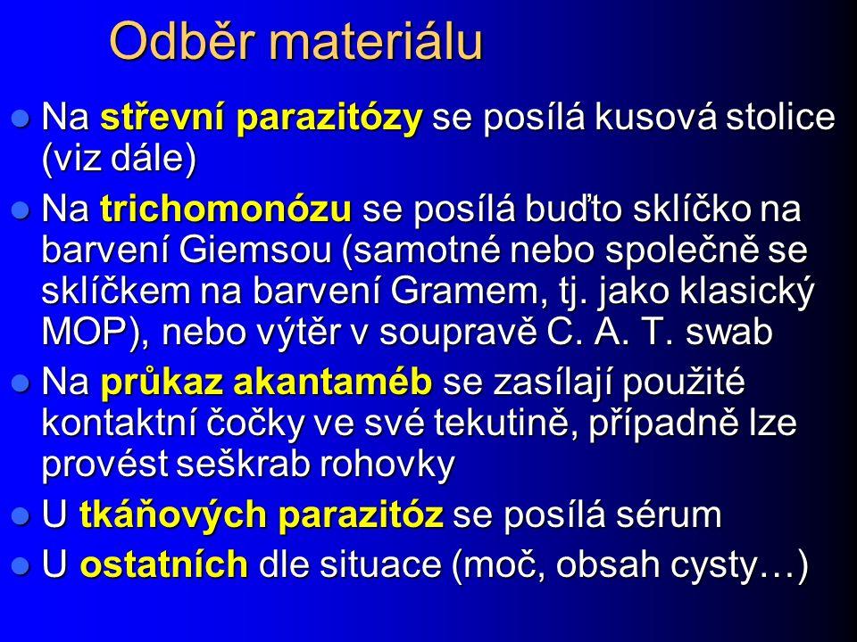 Diagnostické metody lékařské parazitologie Odběrová souprava na střevní parazity Ze stránek dodávající firmy