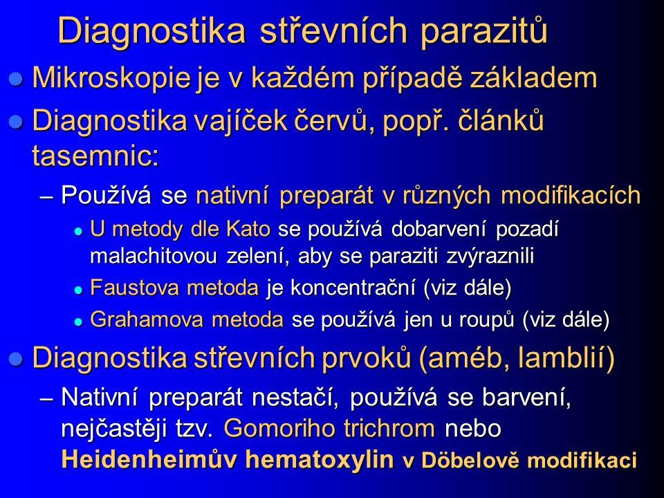 Paraziti: diagnostické metody obecně Důležitá je mikroskopie, buď nativní preparát.