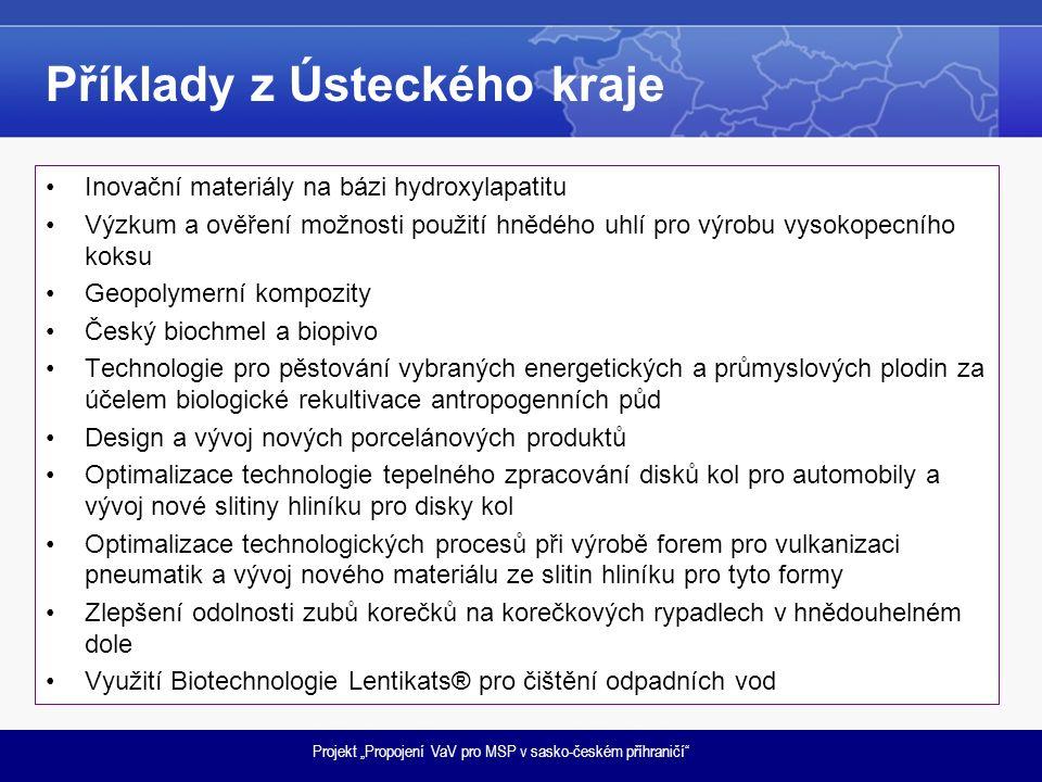 """Projekt """"Propojení VaV pro MSP v sasko-českém příhraničí Příklady z Ústeckého kraje Inovační materiály na bázi hydroxylapatitu Výzkum a ověření možnosti použití hnědého uhlí pro výrobu vysokopecního koksu Geopolymerní kompozity Český biochmel a biopivo Technologie pro pěstování vybraných energetických a průmyslových plodin za účelem biologické rekultivace antropogenních půd Design a vývoj nových porcelánových produktů Optimalizace technologie tepelného zpracování disků kol pro automobily a vývoj nové slitiny hliníku pro disky kol Optimalizace technologických procesů při výrobě forem pro vulkanizaci pneumatik a vývoj nového materiálu ze slitin hliníku pro tyto formy Zlepšení odolnosti zubů korečků na korečkových rypadlech v hnědouhelném dole Využití Biotechnologie Lentikats® pro čištění odpadních vod"""