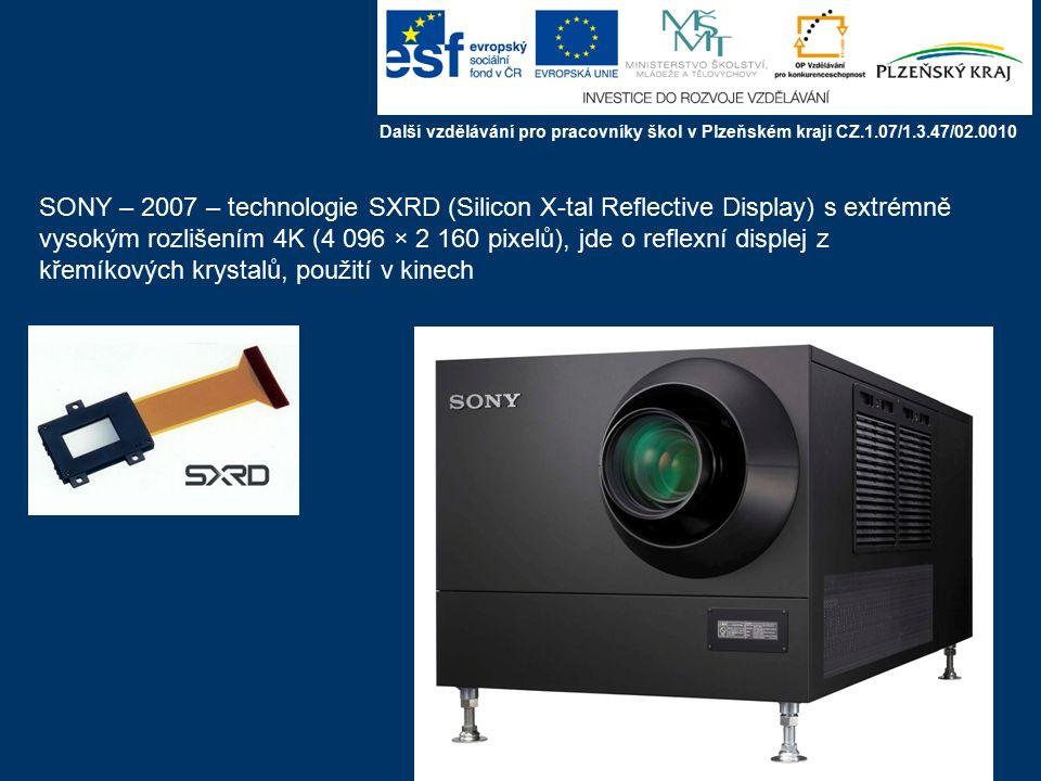 DMD pixel až 2048 x 1080 Další vzdělávání pro pracovníky škol v Plzeňském kraji CZ.1.07/1.3.47/02.0010