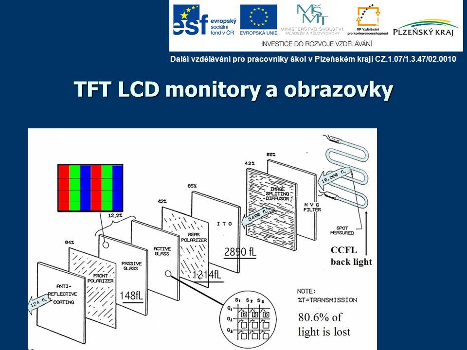 TFT LCD monitory a obrazovky TFT LCD : každý pixel je navíc vybaven TFT (Thin Film Transistor), který řídí napětí a kondenzátorem: paměť, možnost libovolné adresace (2000) Další vzdělávání pro pracovníky škol v Plzeňském kraji CZ.1.07/1.3.47/02.0010