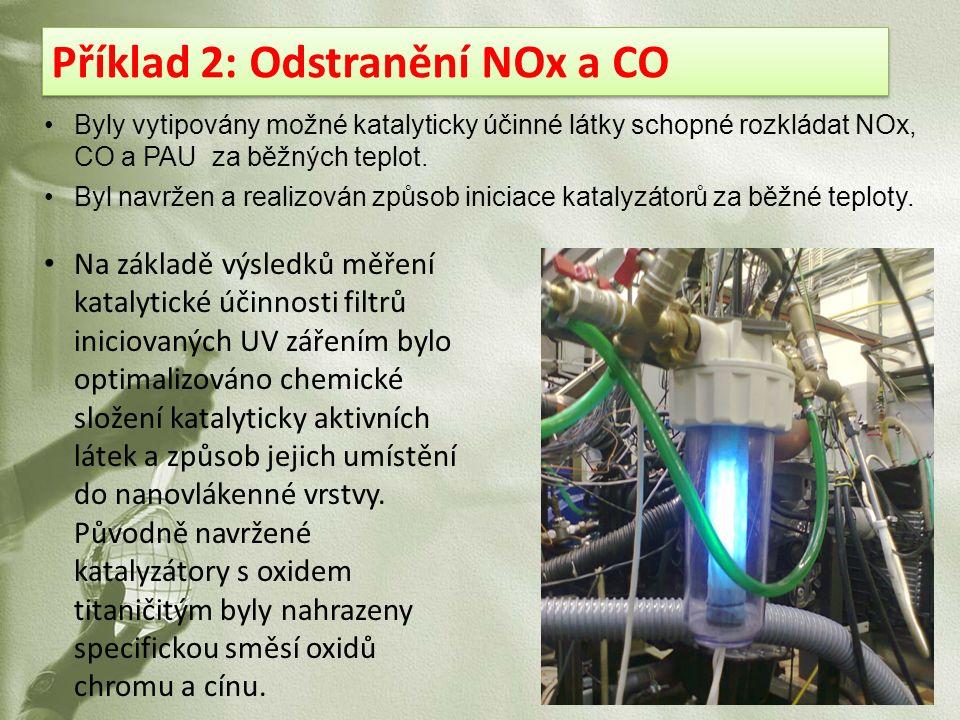Příklad 2: Odstranění NOx a CO Byly vytipovány možné katalyticky účinné látky schopné rozkládat NOx, CO a PAU za běžných teplot. Byl navržen a realizo