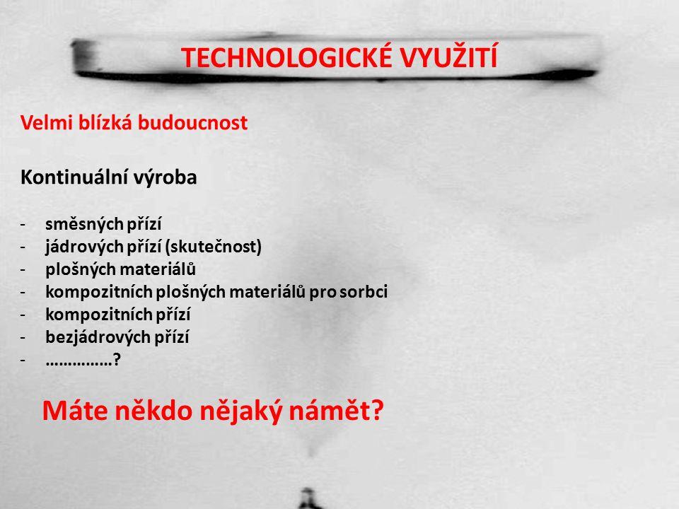 TECHNOLOGICKÉ VYUŽITÍ Velmi blízká budoucnost Kontinuální výroba -směsných přízí -jádrových přízí (skutečnost) -plošných materiálů -kompozitních plošných materiálů pro sorbci -kompozitních přízí -bezjádrových přízí -…………….