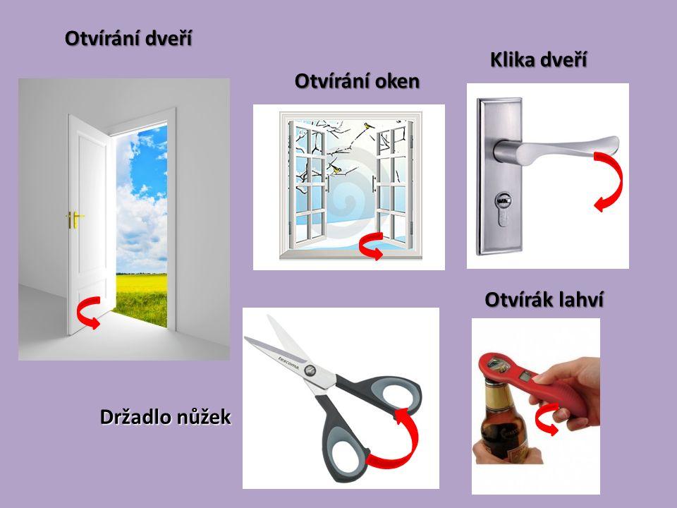 Otvírání dveří Otvírák lahví Otvírání oken Klika dveří Držadlo nůžek