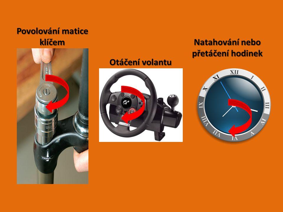 Povolování matice klíčem Natahování nebo přetáčení hodinek Otáčení volantu