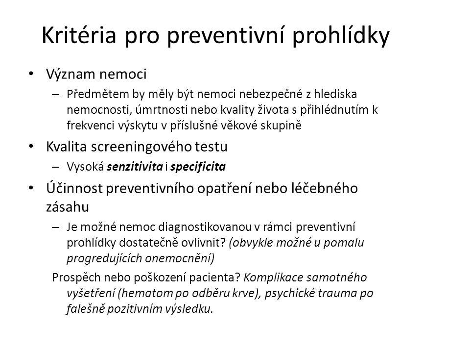 Kritéria pro preventivní prohlídky Význam nemoci – Předmětem by měly být nemoci nebezpečné z hlediska nemocnosti, úmrtnosti nebo kvality života s přihlédnutím k frekvenci výskytu v příslušné věkové skupině Kvalita screeningového testu – Vysoká senzitivita i specificita Účinnost preventivního opatření nebo léčebného zásahu – Je možné nemoc diagnostikovanou v rámci preventivní prohlídky dostatečně ovlivnit.