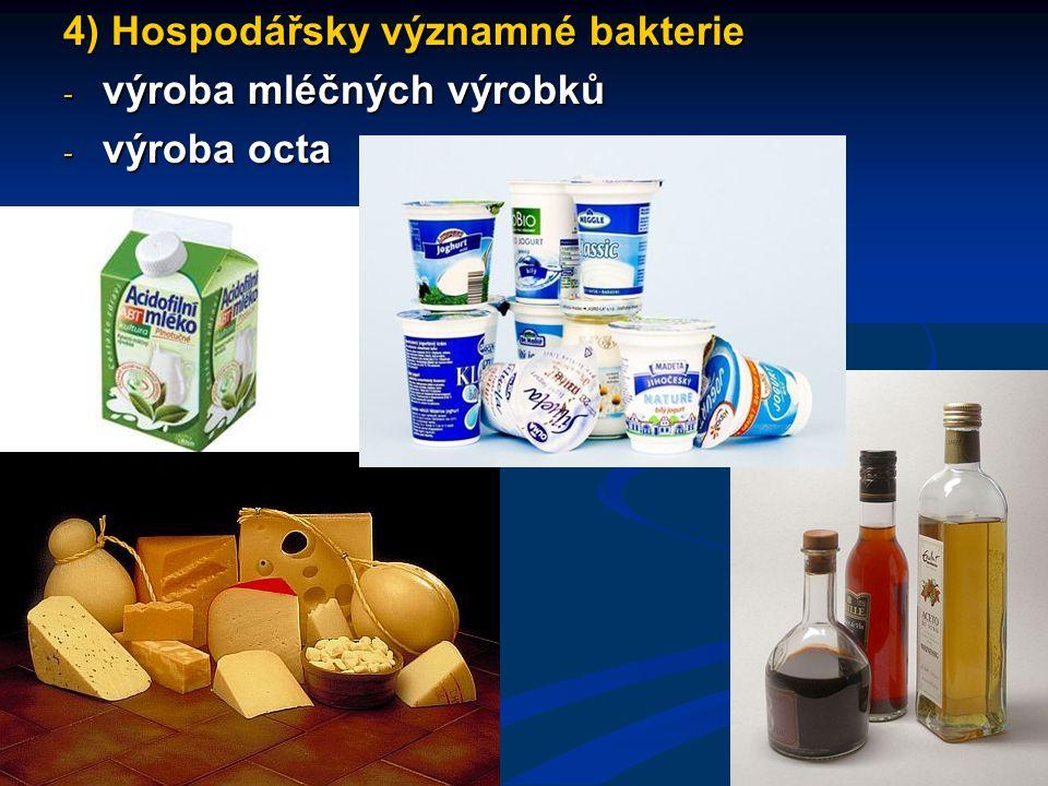4) Hospodářsky významné bakterie - výroba mléčných výrobků - výroba octa