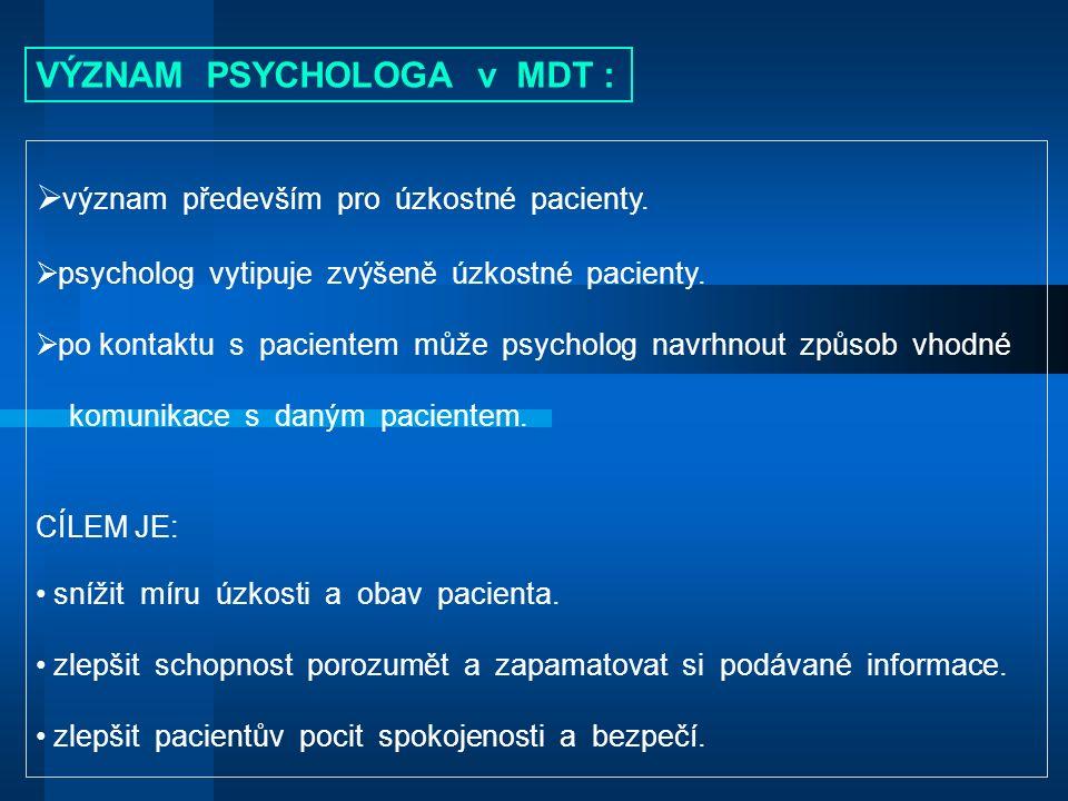  význam především pro úzkostné pacienty.  psycholog vytipuje zvýšeně úzkostné pacienty.
