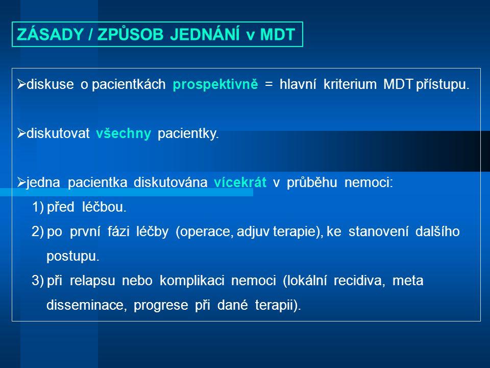  diskuse o pacientkách prospektivně = hlavní kriterium MDT přístupu.