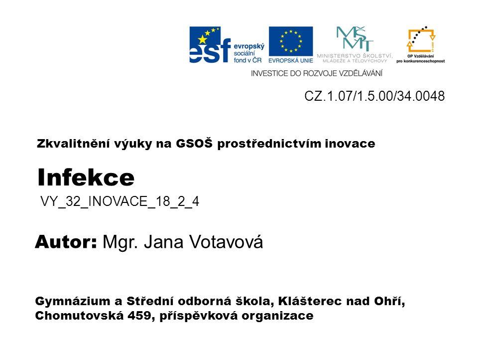 Infekce Bakteriální a virová onemocnění VY_32_INOVACE_18_2 _4 Mgr. Jana Votavová