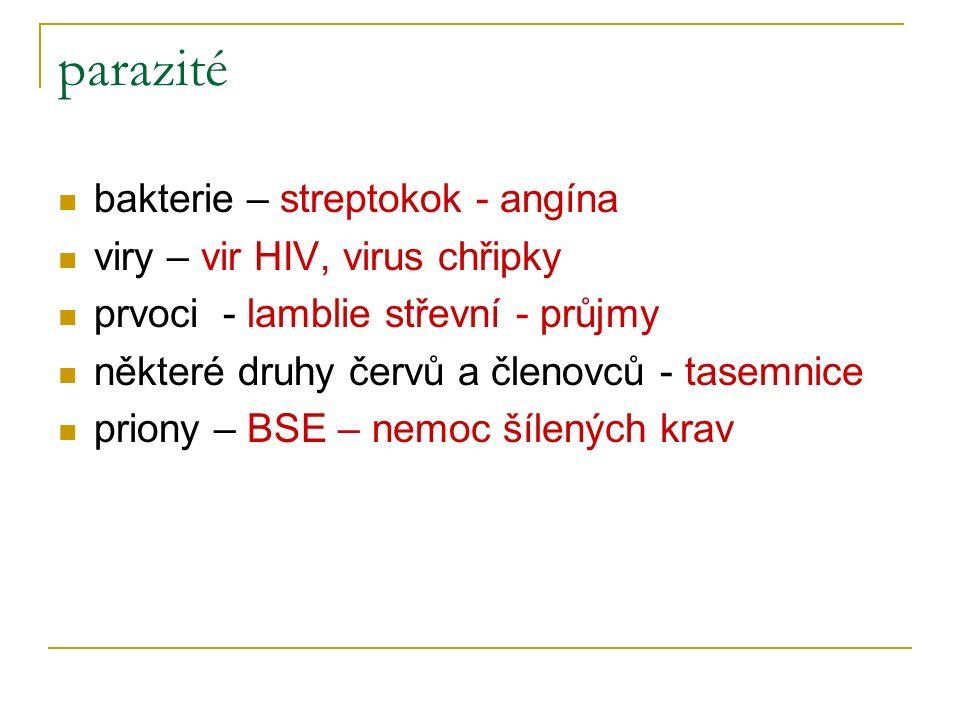 parazité bakterie – streptokok - angína viry – vir HIV, virus chřipky prvoci - lamblie střevní - průjmy některé druhy červů a členovců - tasemnice priony – BSE – nemoc šílených krav