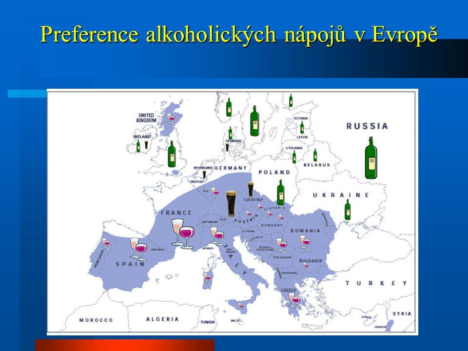 Vzestup konzumace alkoholu Německo, Holandsko 1950-19904x Československo - ČR 1953 3.1 l per capita 19828.9 l per capita 19999.9 l per capita 2002 10.2 l per capita 2005 9.8 l per capita 2010cca 10 l per capita