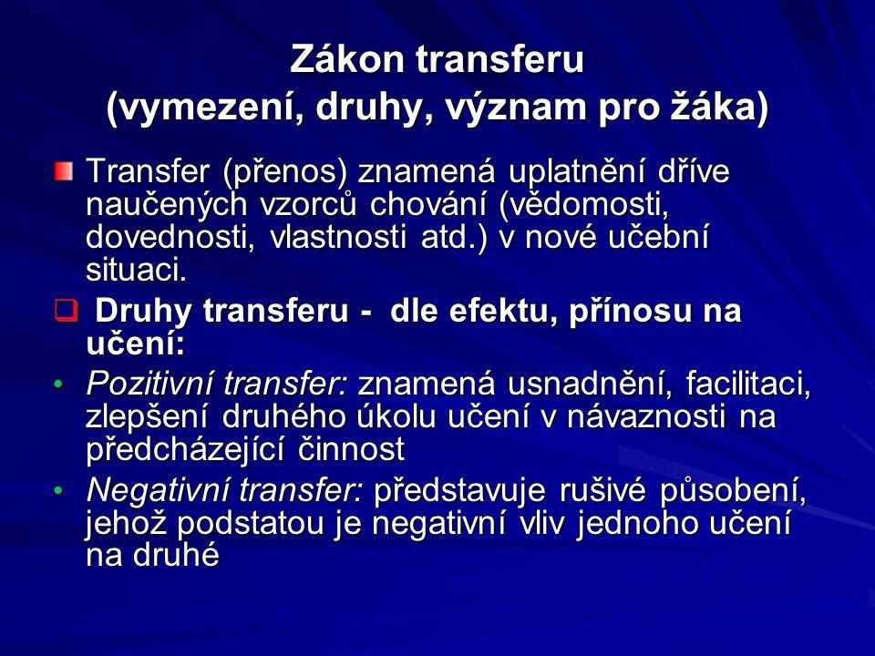 Zákon transferu (vymezení, druhy, význam pro žáka) Transfer (přenos) znamená uplatnění dříve naučených vzorců chování (vědomosti, dovednosti, vlastnos