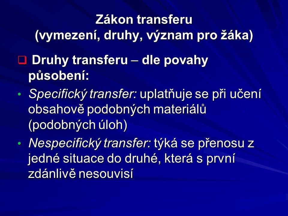 Zákon transferu (vymezení, druhy, význam pro žáka)  Druhy transferu – dle povahy působení: Specifický transfer: uplatňuje se při učení obsahově podob