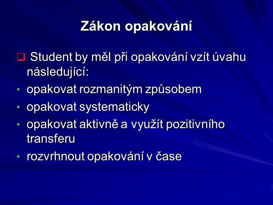 Zákon opakování  Student by měl při opakování vzít úvahu následující: opakovat rozmanitým způsobem opakovat rozmanitým způsobem opakovat systematicky
