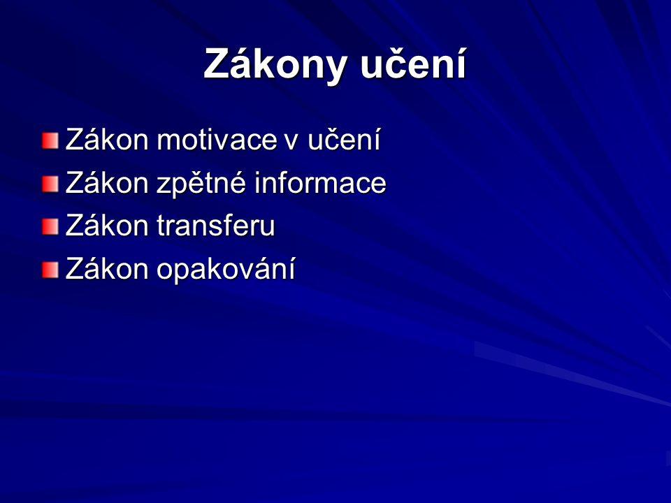 Zákon motivace v učení Zákon zpětné informace Zákon transferu Zákon opakování
