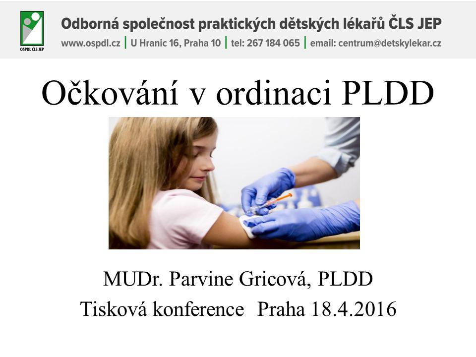 Očkování v ordinaci PLDD MUDr. Parvine Gricová, PLDD Tisková konference Praha 18.4.2016
