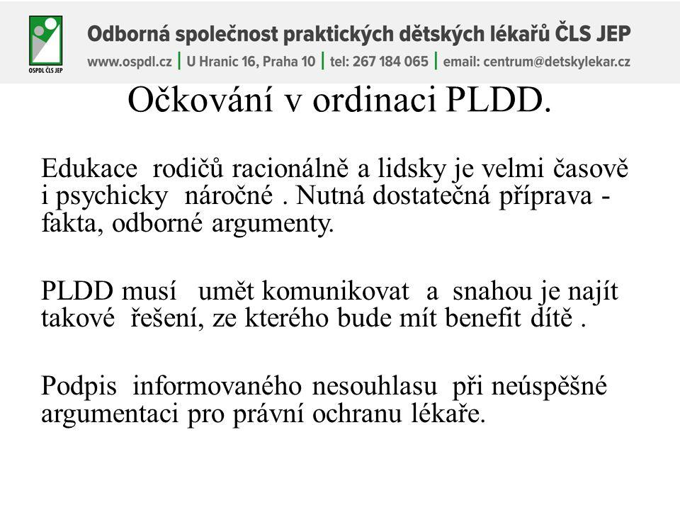 Očkování v ordinaci PLDD. Edukace rodičů racionálně a lidsky je velmi časově i psychicky náročné.