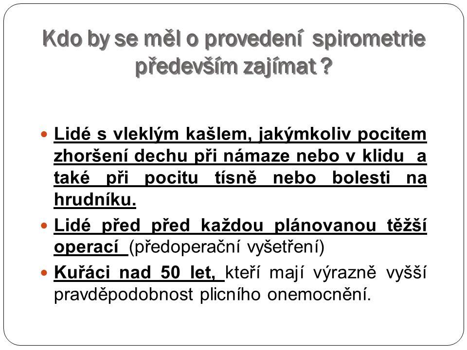 Kdo by se měl o provedení spirometrie především zajímat .