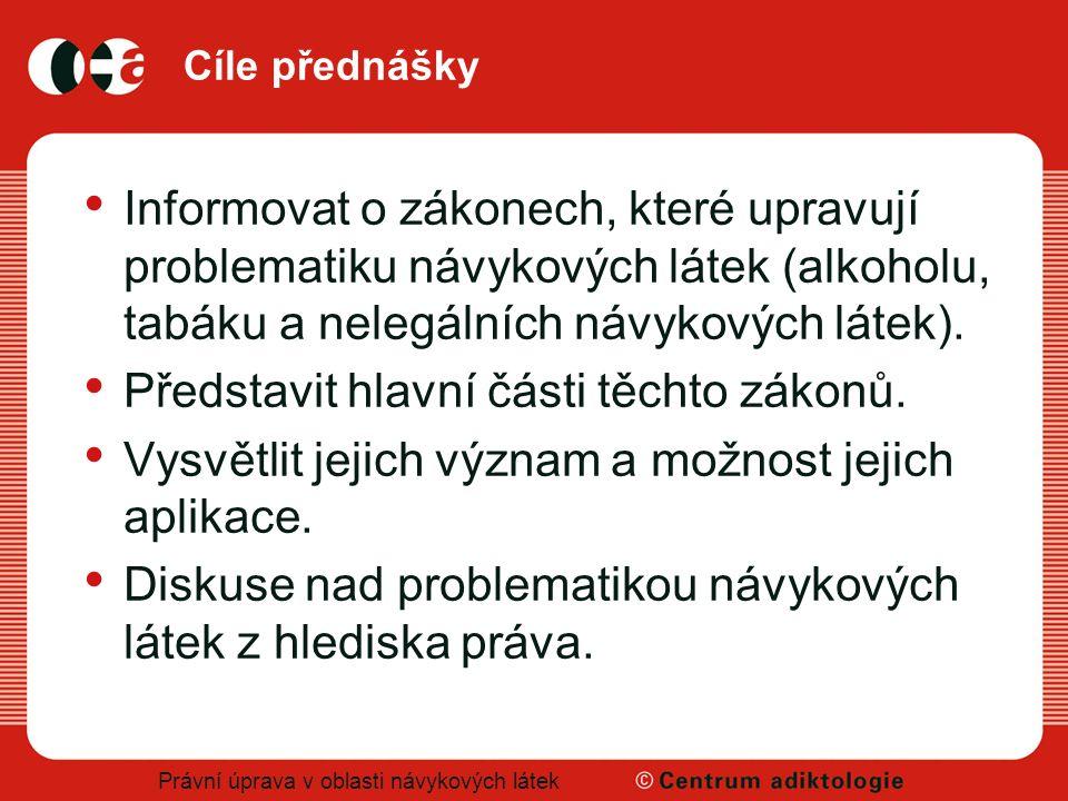 Právní úprava v oblasti návykových látek Použitá literatura Zákon č.