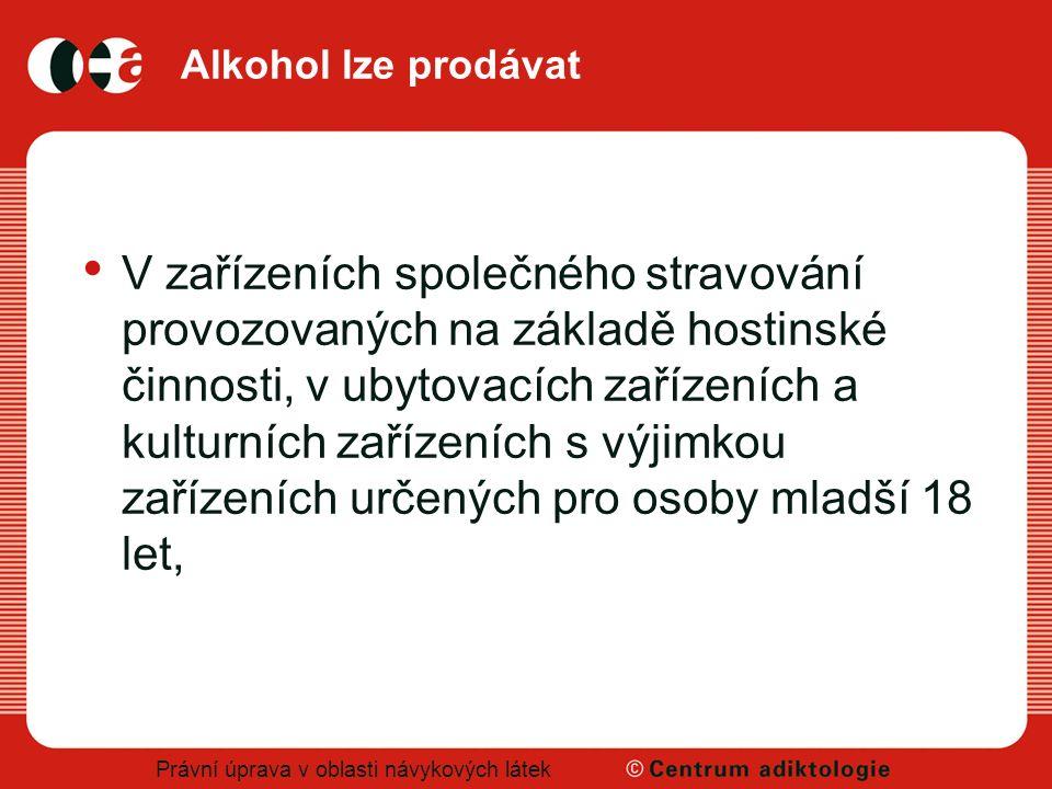 Právní úprava v oblasti návykových látek Alkohol lze prodávat V zařízeních společného stravování provozovaných na základě hostinské činnosti, v ubytov