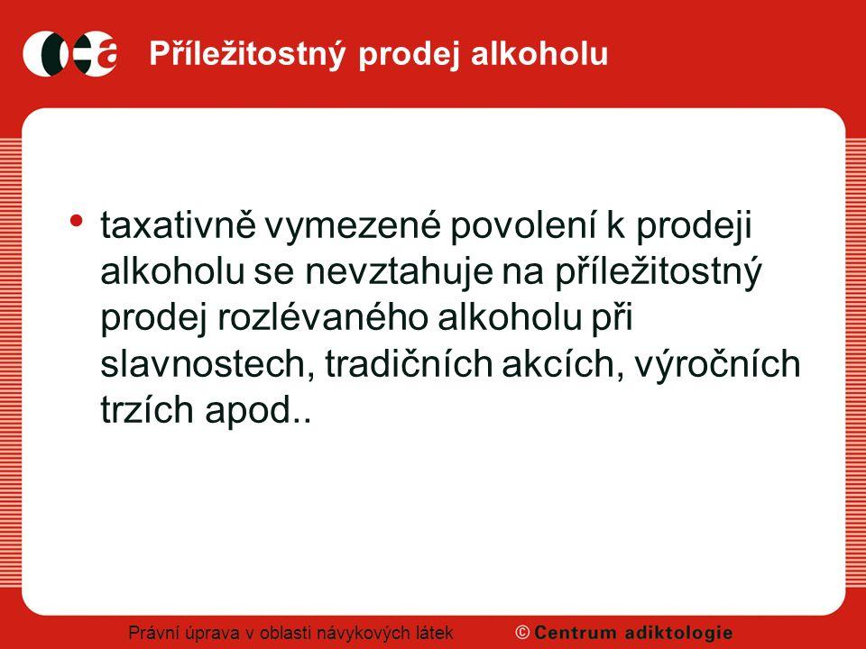 Právní úprava v oblasti návykových látek Příležitostný prodej alkoholu taxativně vymezené povolení k prodeji alkoholu se nevztahuje na příležitostný p