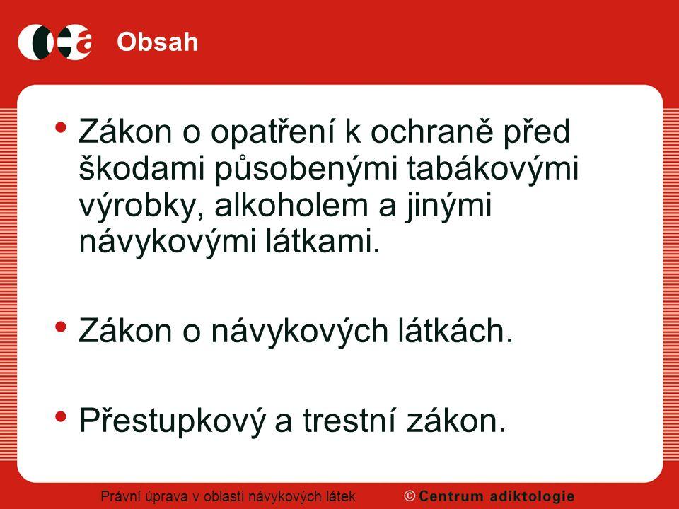 Právní úprava v oblasti návykových látek Použitá literatura Gajdošíková, H.