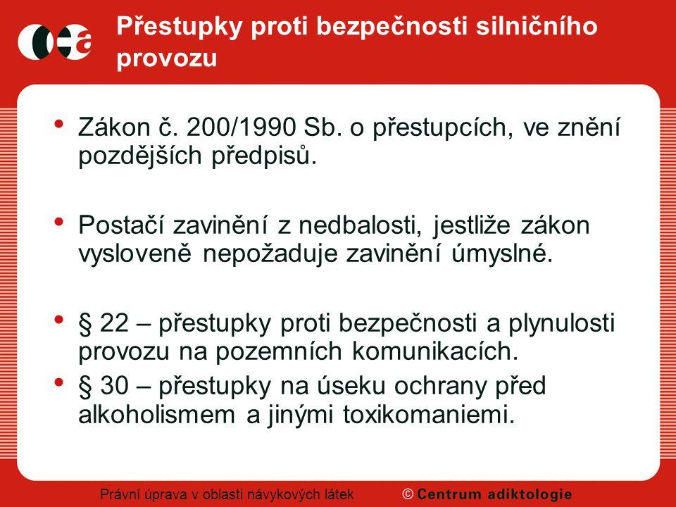 Právní úprava v oblasti návykových látek Přestupky proti bezpečnosti silničního provozu Zákon č. 200/1990 Sb. o přestupcích, ve znění pozdějších předp