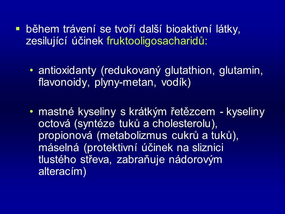 během trávení se tvoří další bioaktivní látky, zesilující účinek fruktooligosacharidů: antioxidanty (redukovaný glutathion, glutamin, flavonoidy, plyny-metan, vodík) mastné kyseliny s krátkým řetězcem - kyseliny octová (syntéze tuků a cholesterolu), propionová (metabolizmus cukrů a tuků), máselná (protektivní účinek na sliznici tlustého střeva, zabraňuje nádorovým alteracím)