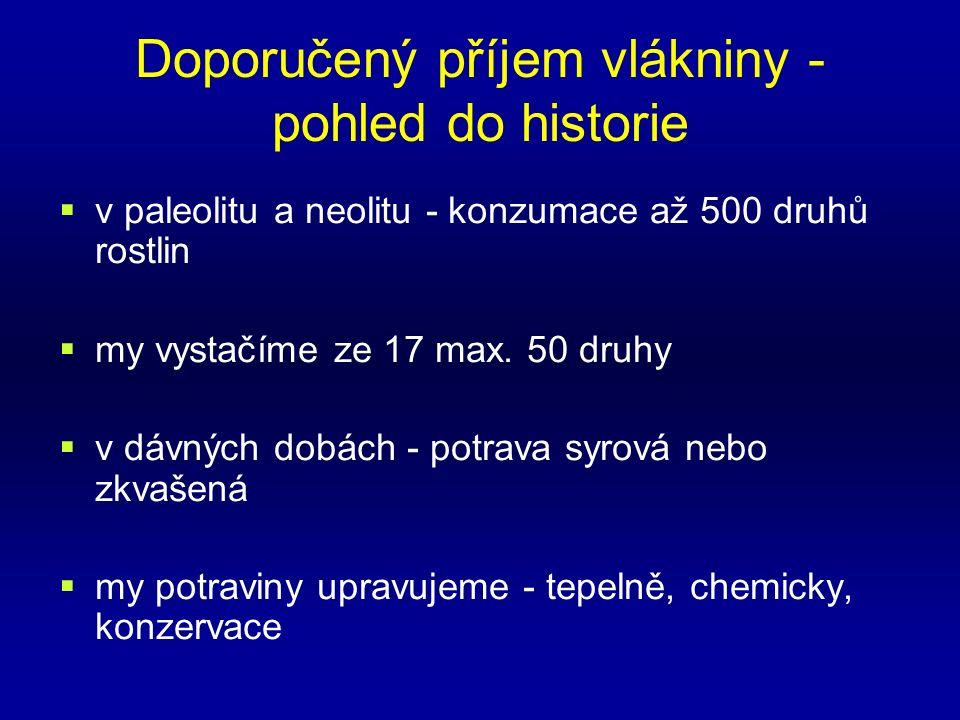 Doporučený příjem vlákniny - pohled do historie  v paleolitu a neolitu - konzumace až 500 druhů rostlin  my vystačíme ze 17 max.