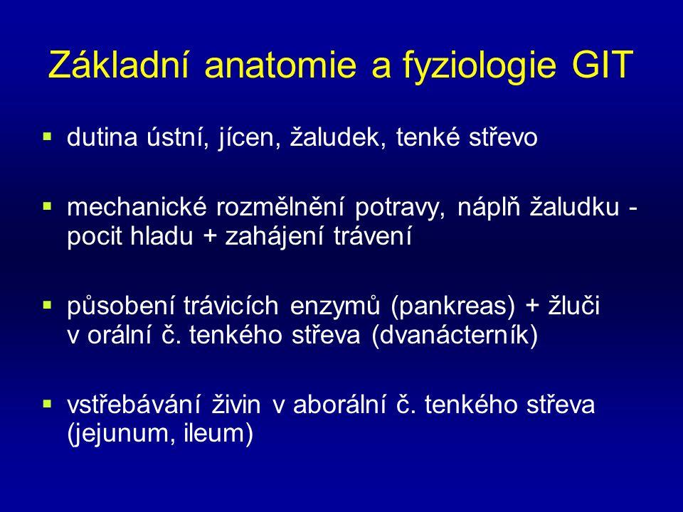 Základní anatomie a fyziologie GIT  dutina ústní, jícen, žaludek, tenké střevo  mechanické rozmělnění potravy, náplň žaludku - pocit hladu + zahájení trávení  působení trávicích enzymů (pankreas) + žluči v orální č.