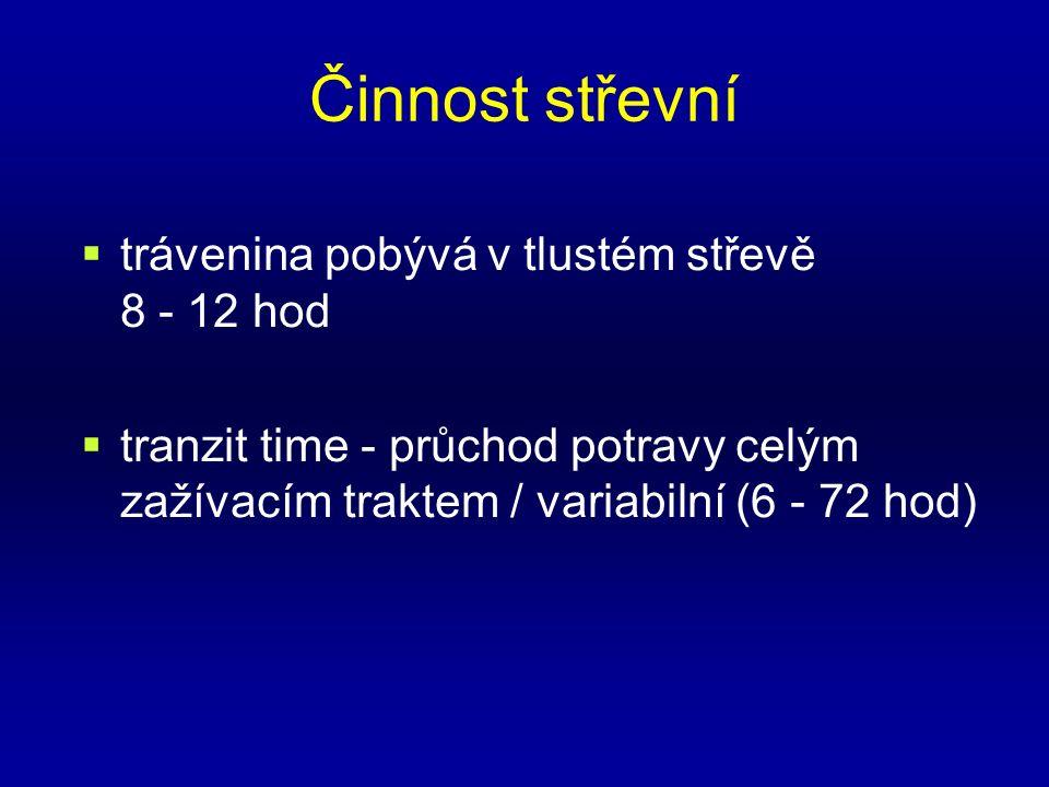 Činnost střevní  trávenina pobývá v tlustém střevě 8 - 12 hod  tranzit time - průchod potravy celým zažívacím traktem / variabilní (6 - 72 hod)