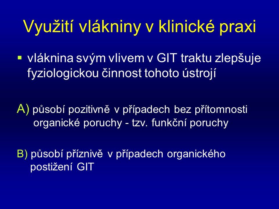Využití vlákniny v klinické praxi  vláknina svým vlivem v GIT traktu zlepšuje fyziologickou činnost tohoto ústrojí A) působí pozitivně v případech bez přítomnosti organické poruchy - tzv.