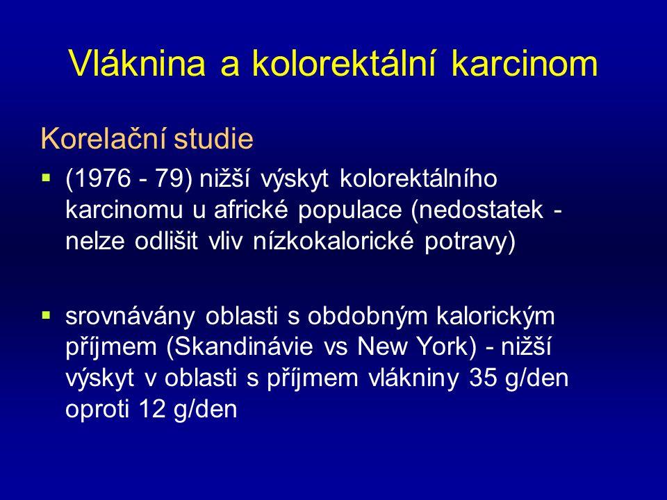 Vláknina a kolorektální karcinom Korelační studie  (1976 - 79) nižší výskyt kolorektálního karcinomu u africké populace (nedostatek - nelze odlišit vliv nízkokalorické potravy)  srovnávány oblasti s obdobným kalorickým příjmem (Skandinávie vs New York) - nižší výskyt v oblasti s příjmem vlákniny 35 g/den oproti 12 g/den