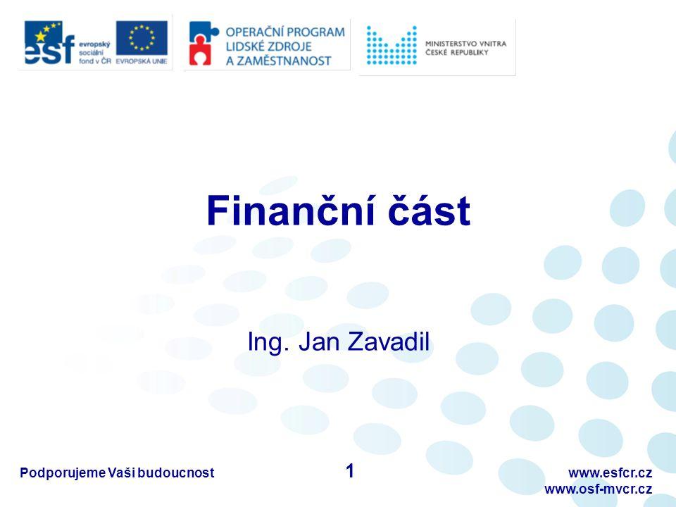 Finanční část Ing. Jan Zavadil Podporujeme Vaši budoucnostwww.esfcr.cz www.osf-mvcr.cz 1